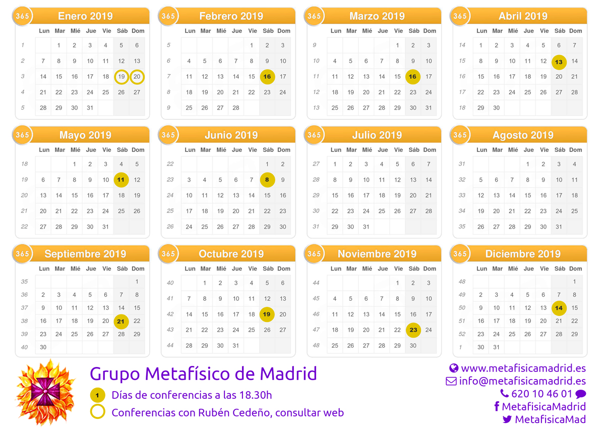 calendario conferencias 2019 metafisica madrid